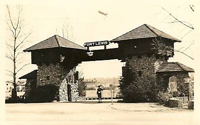 photo of Fort Lewis, Waswhington, main gate, 1944