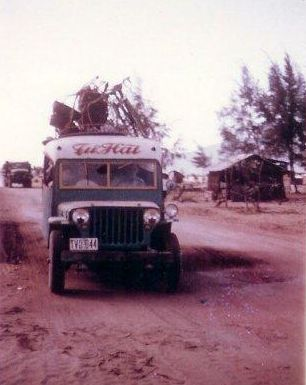 Bus on road near Marble Mountain airfield