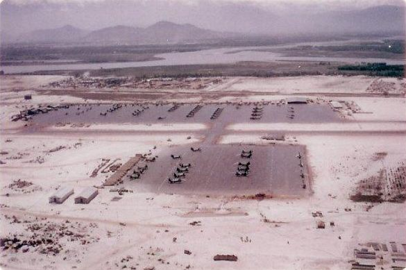 Marble Mountain Airfield, looking west. 220th shack at extreme left edge of the far side of the psp runway