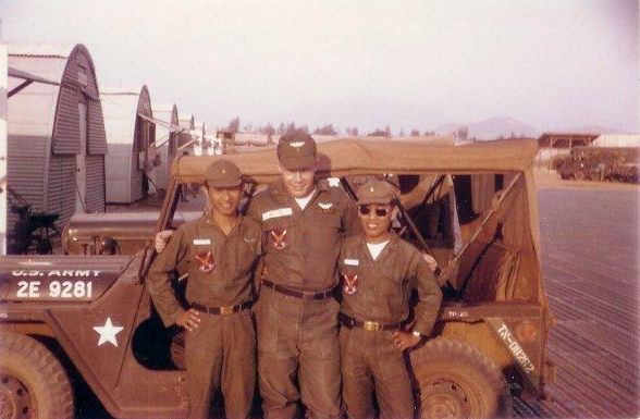 Norm MacPhee, with two ARVN observers at Marble Mountain