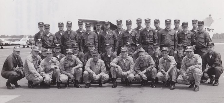 Flight class for Steve Chapin and Bill Riddle, Maroon Hats, Wright Army Airfield, 1970
