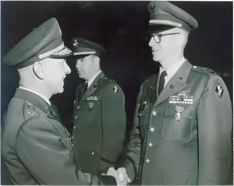 CW2 Donovan E. Behny receiving the Bronze Star medal, Fort Eustis, Virginia, circa 1966-67