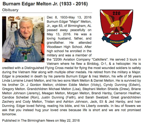 MAJ Burnam E. Melton, Jr., obituary written by his granddaughter, Stephani