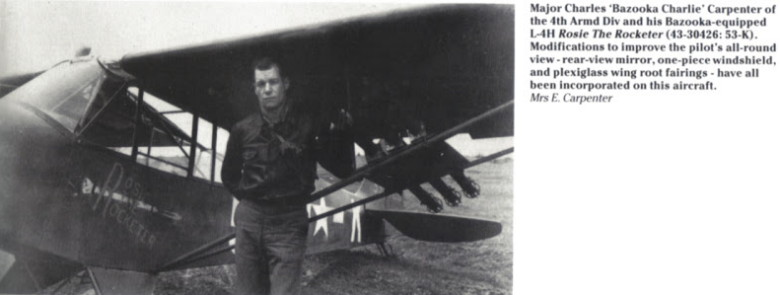 Lt. Col. Charles (Bazooka Charlie) Carpenter and his L-4 Grasshopper