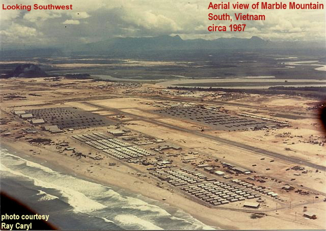 Aerial view of Marble Mountain, Vietnam, circa 1967