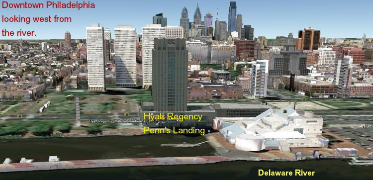 Hyatt Regency Philadelphia at Penn's landing, Google Earth view