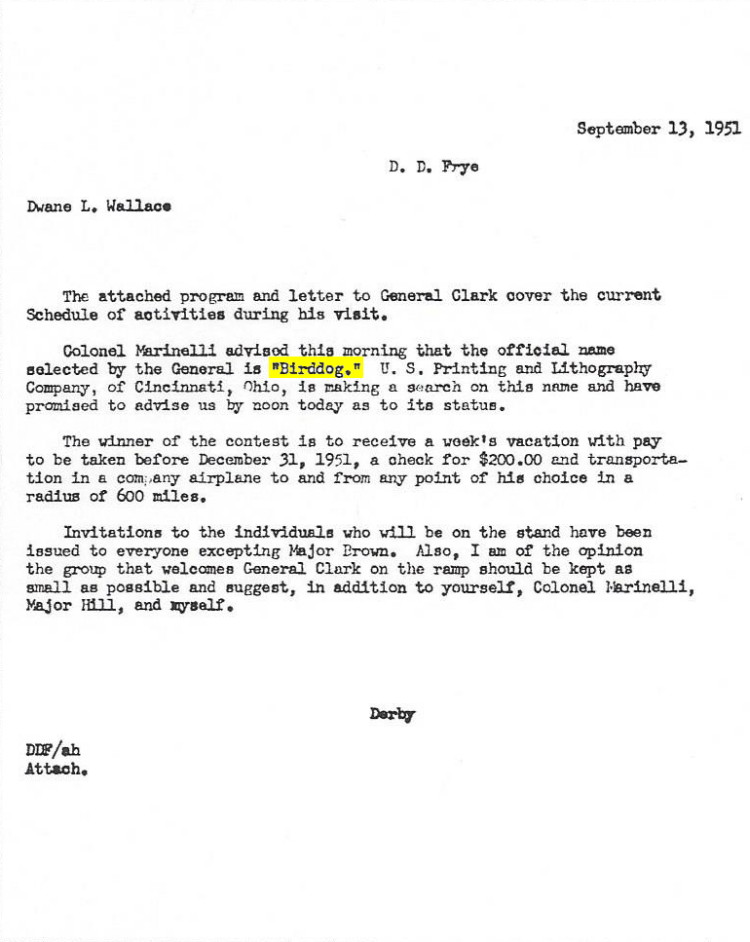 copy of letter from Derby D.Frye to Dwane L. Wallace regarding selected name for L-19
