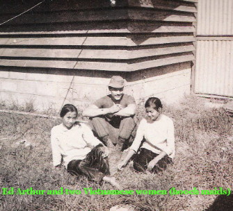 Ed Arthur and two Vietnamese women (hooch maids)