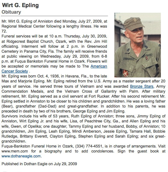 Obituary, Master Sergeant Wirt G. Epling, deceased 27 July 2009