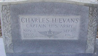 Grave stone for CPT (P) Charles H. Evans, killed in a helicopter accident 5 September 1967