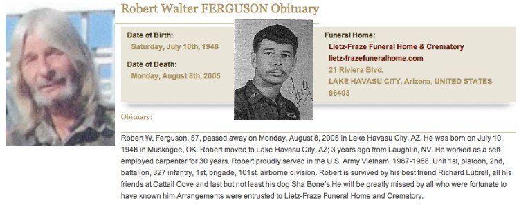 Obituary and photo, Robert W. Ferguson, Catkiller 31, 1971