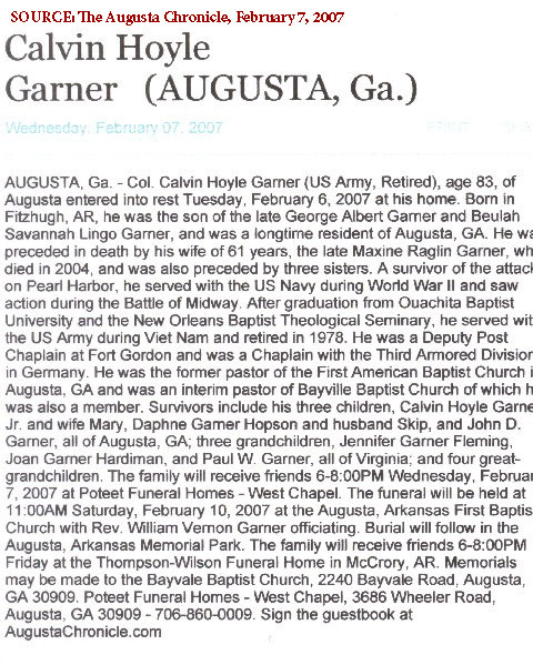 Chaplain Calvin Garner obituary. He was the chaplain who conducted CPT Garth's memorial service at Quang Ngai