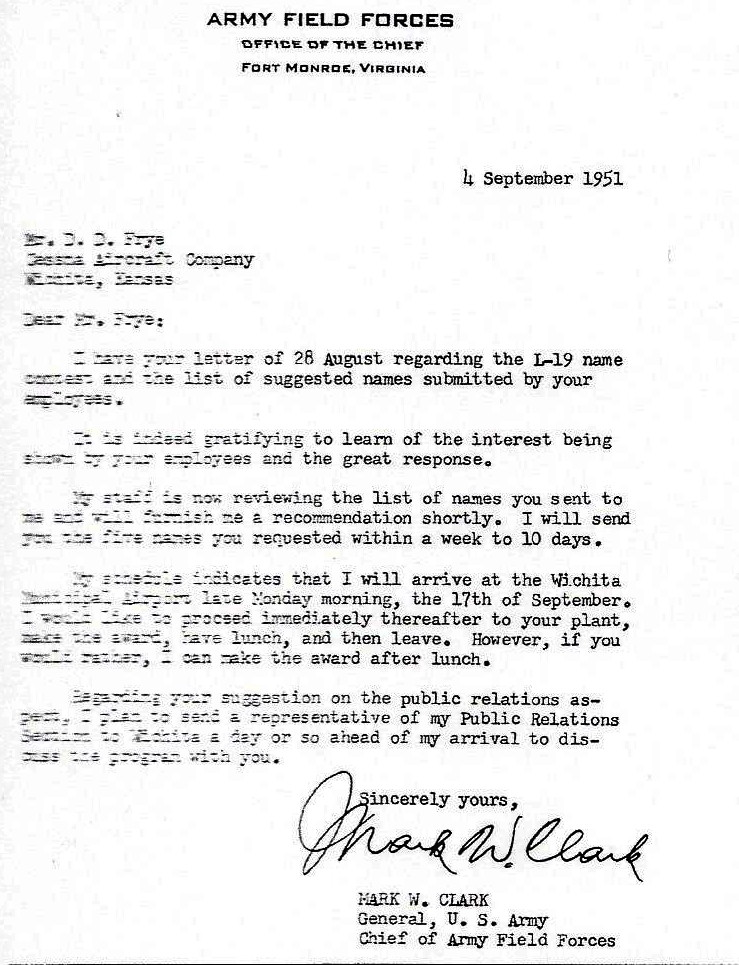 copy of letter from General Mark W. Clark to Derby Frye, Cessna Aircraft Company