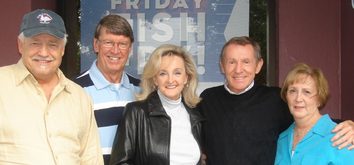 "Left to right: Catkiller Bill Hooper, Marine AO Clyde ""Tango"" Trathowen and wife Nancy, Charles and Nancy Finch, Tampa, December 2010"