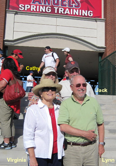 Lynn and Virginia Bumbardger; Jack and Cathy Bentley at an Angles game at Tempe, AZ