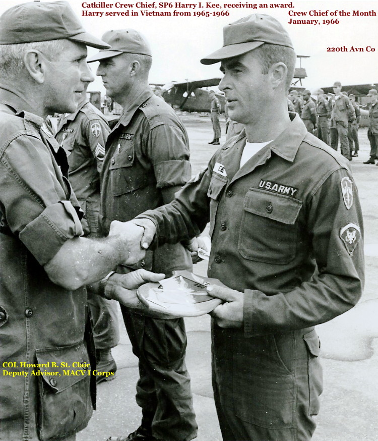 SP5 Harry I. Kee receiving a Crew Chief Award, 220th Aviation Company, circa 1965-66