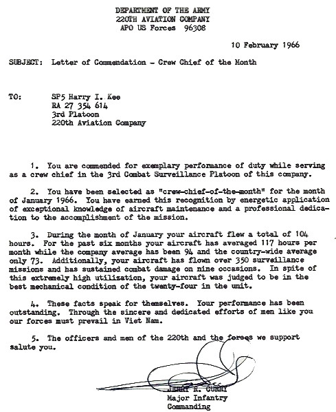 Timely Letter of Commendation to SP4 Harry I. Kee from MAJ Jerry R. Curry