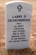 headstone for MAJ Larry D. Oltjenbruns, Retired