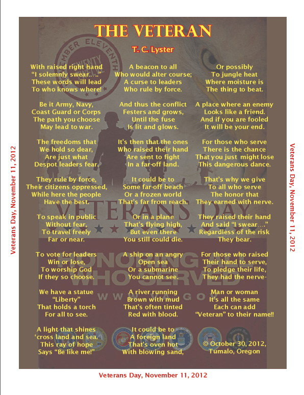 The Veteran, a poem by T. C. Lyster, copyright 2012