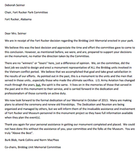 Letter from Norm MacPheed to Deborah Seimer