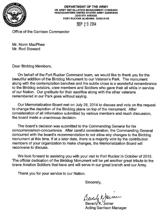 Letter regarding Memorialization Board decision to Norm MacPhee and Rod Stewart