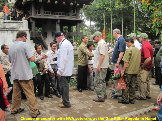 Chance encounter with NVA veterans at the One Pillar Pagoda in Hanoi