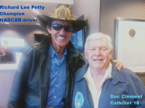 NASCAR legend Richard Lee Petty and Catkiler Doc Clement enroute to Miami