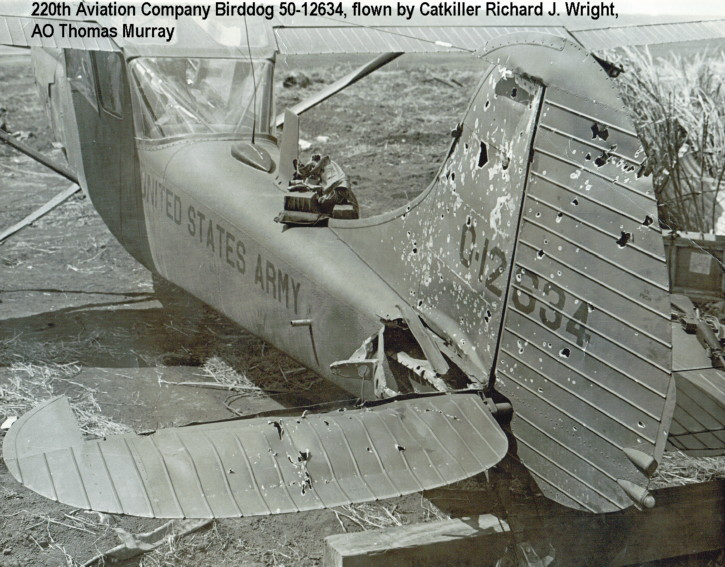 Forced landing of Birddog 50-12634, 1971, by CPT Richard J. Wright, photo courtesy of Catkiller Opns Officer Randy Jones, photo taken by Paul Garin, 1971