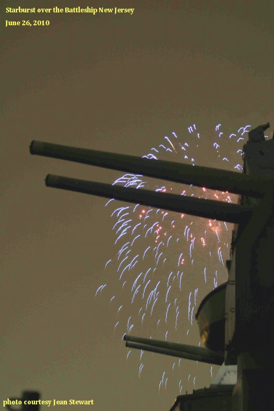 Fireworks of a different kind, USS New Jersey
