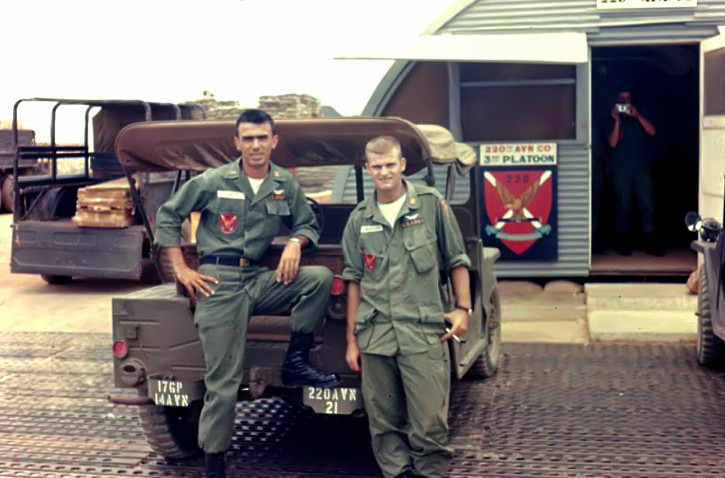 CW2 Ron de los Santos and WO1 Don Medley, 220th Avn Co, 3rd Plat, 1966. Photo by Roger Putnam