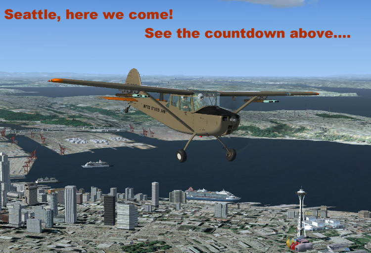 courtesy of Patrick Webster, this Birddog circles over Seattle, on recon mission until the reunion