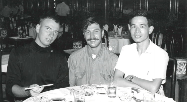 On R and R, L-R, Mike Sharkey, Henry Milam, unknown Vietnamese