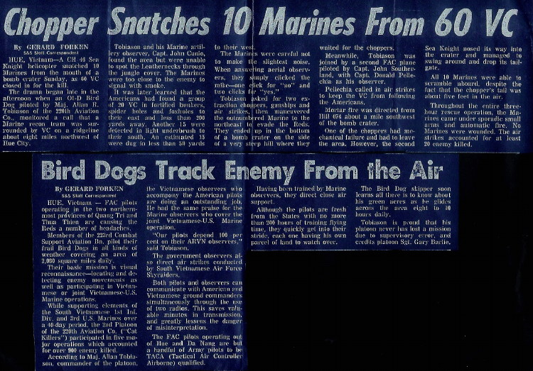 1967 Stars and Stripes article courtesy of Marine Capt. Don Pellecchia