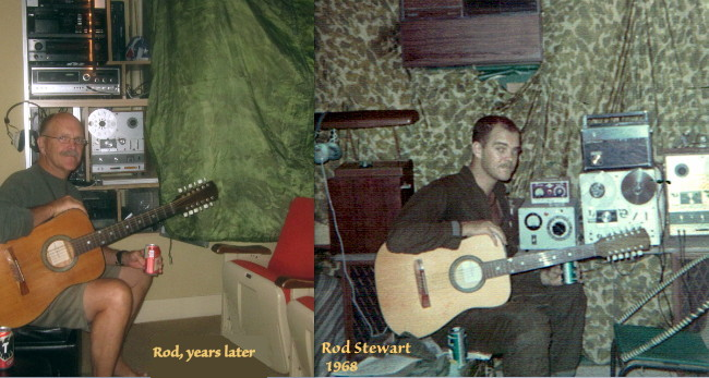 Rod Stewart with the 12-string guitar, then and now