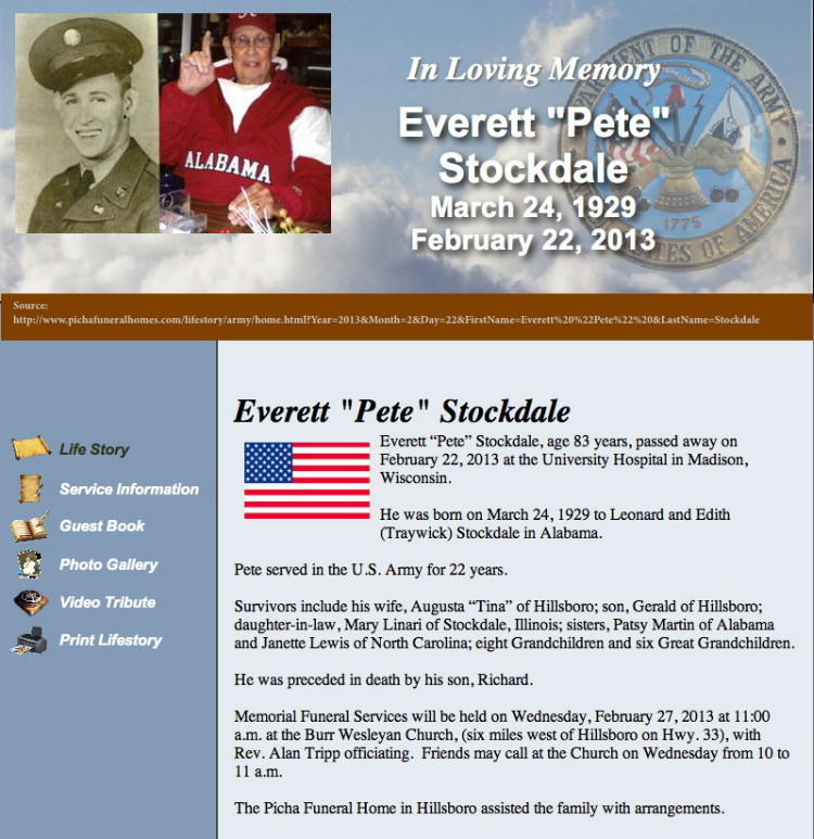 SFC Everett Stockdale obituary, 2013