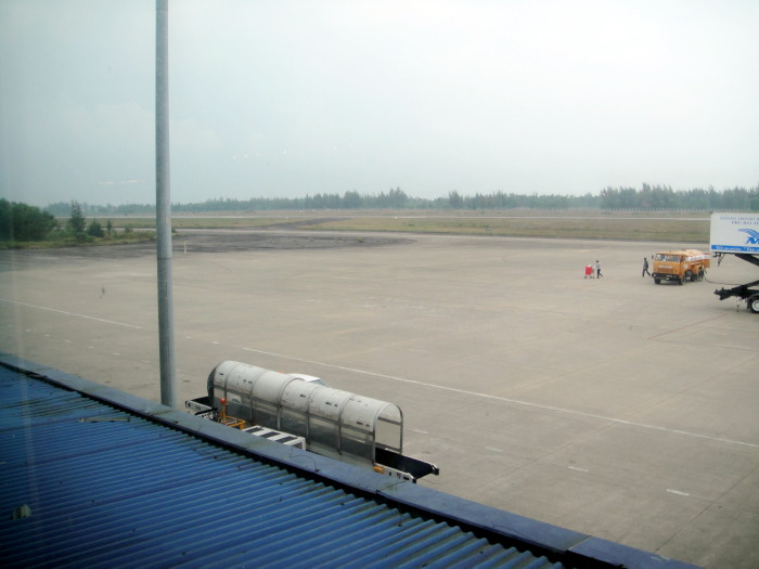 View of ramp towards Catkiller maintenance area. The airport still had the same layout as when we were there, but was closing the month after we left to get a complete face lift. It was a hoot taking off on Phu Bai runway enroute to Saigon.