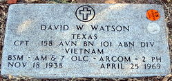 gravestone for David Warren Watson, KIA